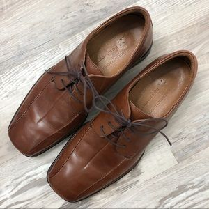 Rockport Lace Up Cognac Square Toe Leather Oxfords